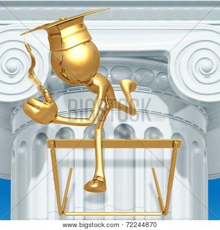 Golden Grad Jumping Hurdles Graduation Concept