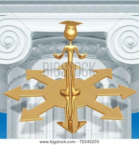Golden Grad Choosing A Direction Graduation Concept