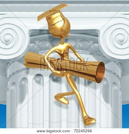 Golden Grad Carrying Diploma Graduation Concept