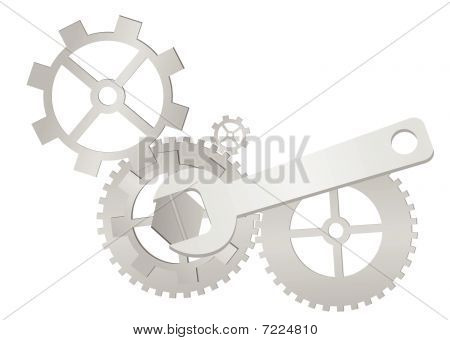 Set of gears and wrench isolated
