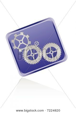 Web icon with gears isolated