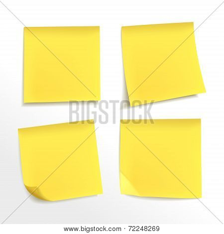 Blank Yellow Note Paper Set