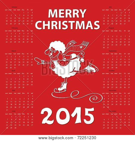 Calendar new Year 2015.Year of Sheep. Vector Cartoon sheep skate.Red background.White silhouette.Merry Christmas.Illustration poster
