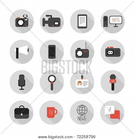 Set of flat colorful vector journalism icons. Mass media. Communication. poster