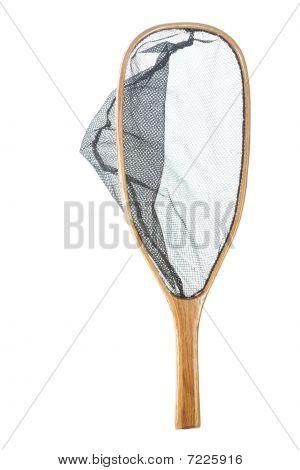 Handmade wooden flyfishing net isolated on white background