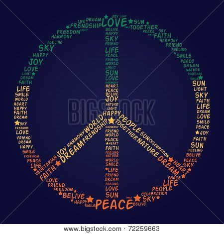Vector Peace Symbol Made Of Words