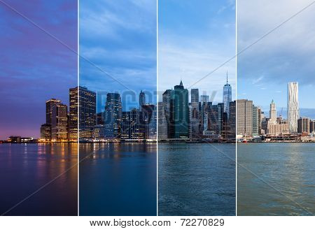 Montage Of Manhattan Skyline Night To Day - New York - Usa