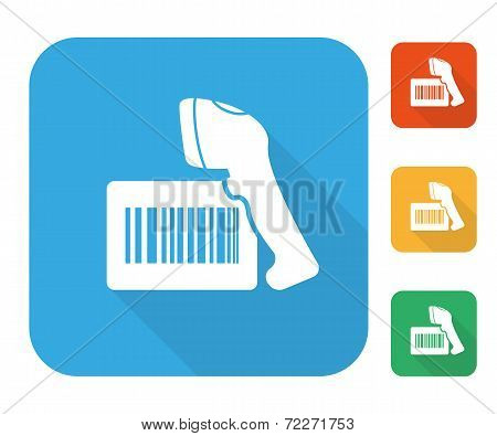 Barcode label with reader icon set