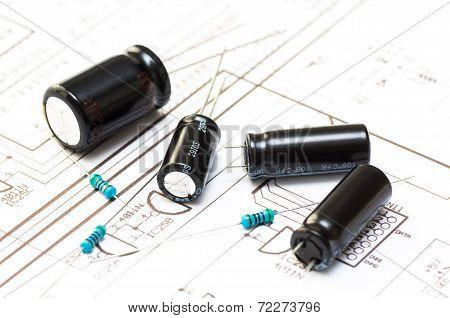 Several Capacitors And Resistors