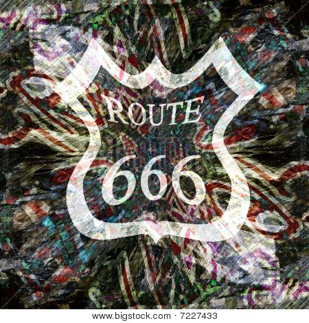 grunge wall with graffiti and route 666 sign on it poster