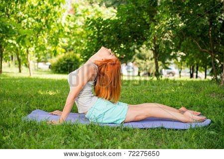 Relaxing with yoga