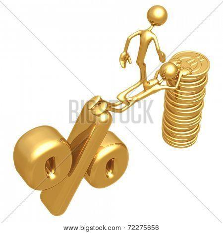 Sacrifice Bridge Between Percentage Symbol And Gold Euro Coin Stack