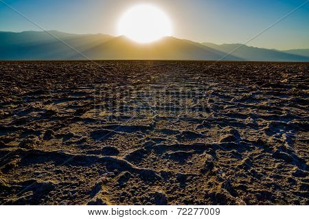 Beautiful landscape sunset at Badwater Death Valley National Park poster