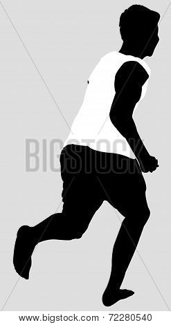 Sihoutte of Young Man Running