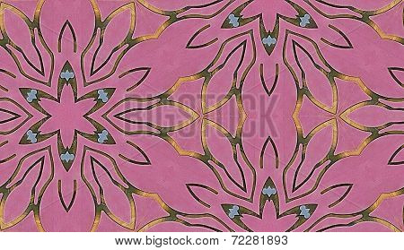 Black, Pink, Blue, Green and Yellow Snowflake Pattern - Repeatable Seamless Tiled Background