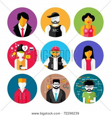 Set of stylish avatar of male and woman icons in flat design. Woman lovelace MC rapper housewife teenager brutal man emo businessman programmer poster