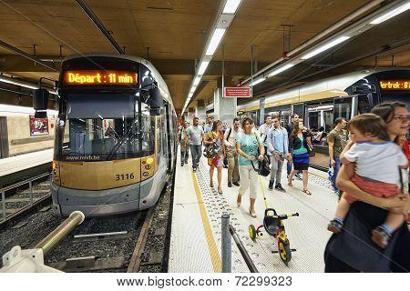 Crowded Of People Walking In Metro Rogier