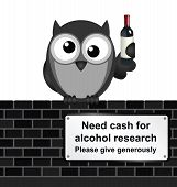 Monochrome comical alcoholic drink research sign on brick wall isolated on white background poster