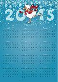 Calendar new Year 2015.Year of Sheep. Vector Cartoon sheep skate.Snowflakes background.Illustration poster