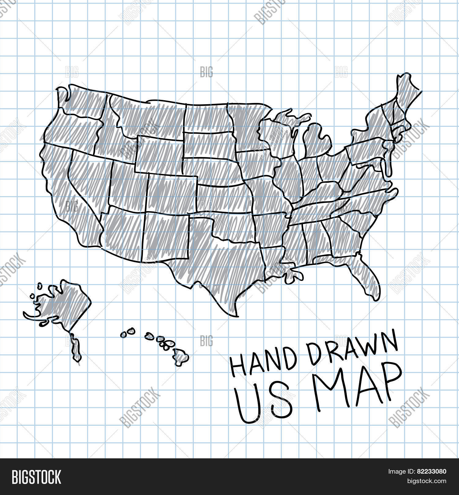 Hand Drawn US Map Vector & Photo (Free Trial) | Bigstock