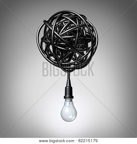 Creative advice concept as a lightbulb or light bulb hanging down from a tangled chaos of twisted electric cord as a success metaphor and creativity resolution symbol. poster