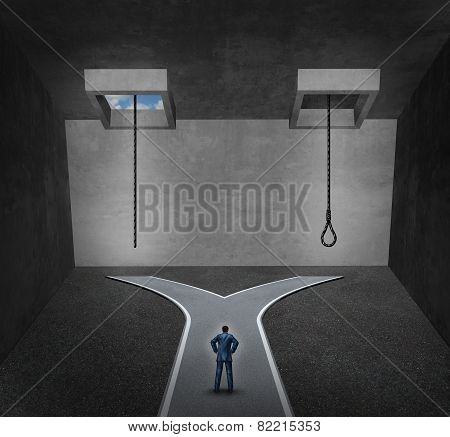 Suicide concept as a person facing a difficult psychological dilemma between a rope with a noose or a life line as a metaphor for a mental disorder suffering due to depression or chemical imbalance. poster