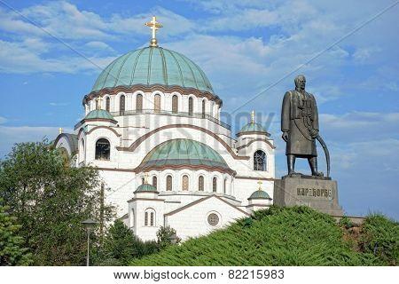 St. Sava Cathedral and Karadjordje statue, Belgrade poster