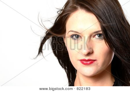 Windy dark hair woman