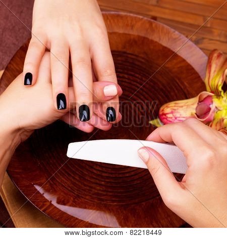 Manicurist master  makes manicure on woman's hands - Spa treatment concept