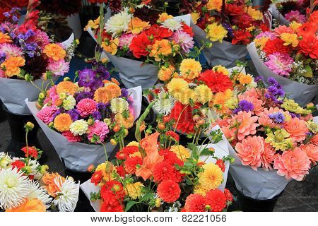 Fresh Flower Bouquets Waiting For Hopeful Lovers