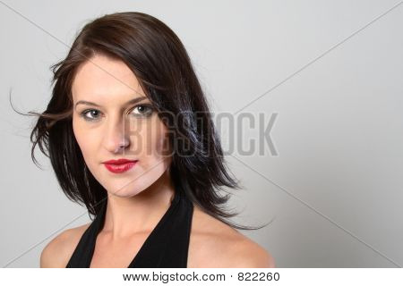 Windy dark hair woman