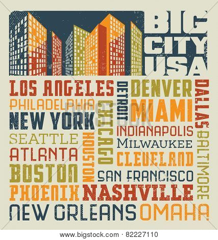 typography word collage design with many big United States cIties