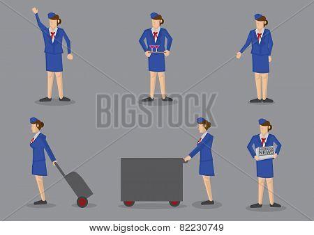 Air Stewardess Vector Icon Set
