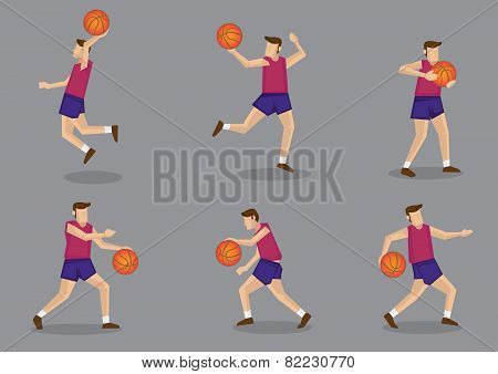 Basketball Player With Basketball Vector Illustration