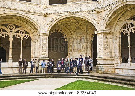 People Visit The Monastery Of Jeronimos