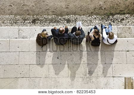People Have A Rest At Monastery Of Jeronimos