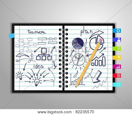 notebook with drawing charts and graphs success business strategy plan concept idea, Abstract infogr