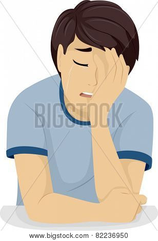 Illustration of a Teenage Boy Clutching His Head While Crying