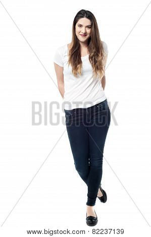 Attractive Woman Posing Over White