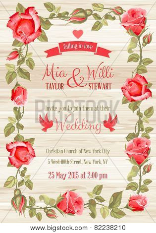 Vector Floral Frame for invitations or announcements. Easy to edit.