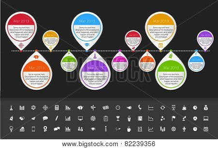 Timeline Template In Sticker Style For Startups With Set Of Icons.
