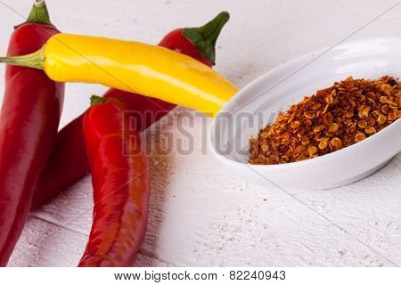 Fresh Red And Yellow Chili Peppers With Spice