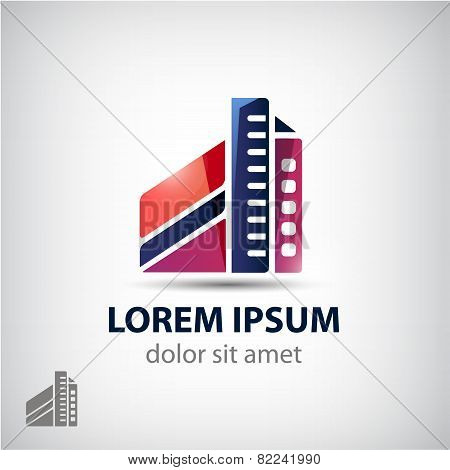 vector building icon, logo isolated