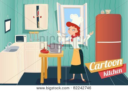 Cartoon Apartment Kitchen Interior House Room Retro Vintage Background Vector Illustration