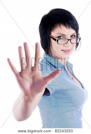 Pretty girl shows stop gesture