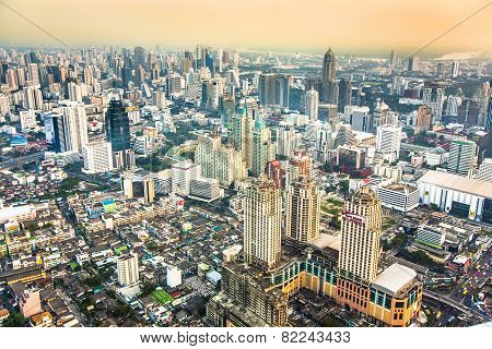 View Across The City In Sunset In Bangkok