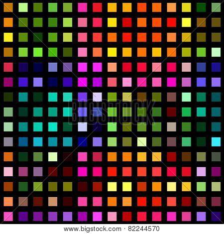 Multicolored square blocks on a black background.