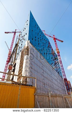 Construction Site Of The Elbphilharmonie In The Port Of Hamburg