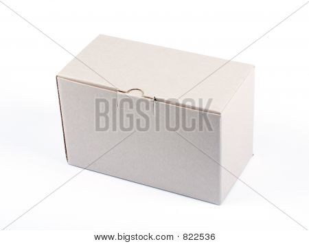 Cardboard box closed isolated on white background poster