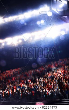 Grand basketball arena with spectators on background poster